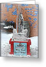 Wine Bottle Ice Sculpture Greeting Card