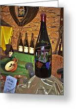 Wine Bottle On Display Greeting Card