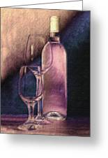 Wine Bottle With Glasses Greeting Card
