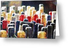 Wine Bottles Painting Greeting Card by Magomed Magomedagaev