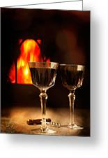 Wine By The Fire Greeting Card