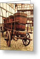 Wine Cart In Alsace France Greeting Card