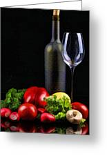 Wine For A Salad Greeting Card by Elaine Plesser