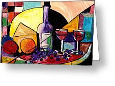 Wine Fruit And Cheese For Two Greeting Card