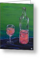 Wine Glass And Bottle Greeting Card