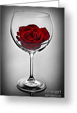 Wine Glass With Rose Greeting Card