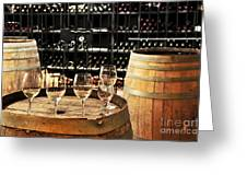 Wine Glasses And Barrels Greeting Card by Elena Elisseeva