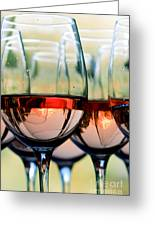 Wine Glasses Filled With Mount Hood Greeting Card by Cari Gesch