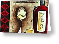 Wine Tasting Original Madart Painting Greeting Card