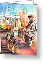 Wine Vendor In A Provence Market Greeting Card