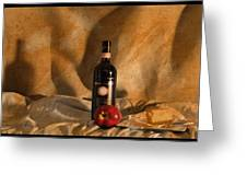 Wine With An Apple And Cheese Greeting Card