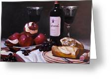 Wine With Peeled Apples Greeting Card