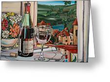 Wine With River View Greeting Card by Anthony Mezza