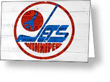 Winnipeg Jets Retro Hockey Team Logo Recycled Manitoba Canada License Plate Art Greeting Card