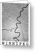 Winnipeg Street Map - Winnipeg Canada Road Map Art On Colored Ba Greeting Card