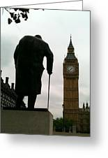 Winston Churchill Facing Big Ben Greeting Card