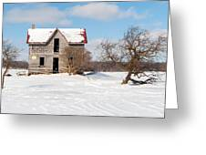 Winter Abandoned Farmouse Greeting Card