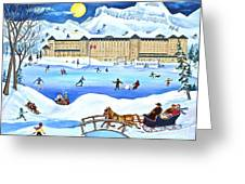 Winter At Lake Louise Chateau Greeting Card