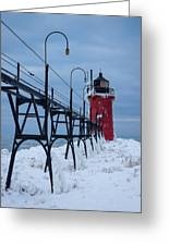 Winter At South Haven Lighthouse Greeting Card