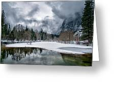 Winter At Swinging Bridge Greeting Card