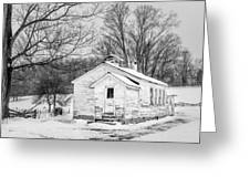 Winter At The Amish Schoolhouse - Bw Greeting Card