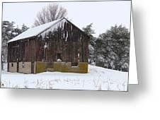 Winter At The Barn Greeting Card