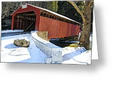 Winter At The Little Gap Covered Bridge Greeting Card