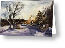 Winter At The River House Greeting Card