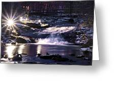 Winter At The Woodlands Waterfall In Wilkes Barre Greeting Card