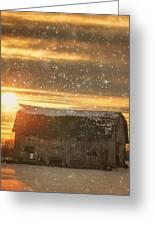 Winter Barn At Sunset Greeting Card