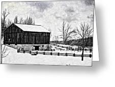 Winter Barn Impasto Version Greeting Card
