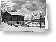 Winter Barn Monochrome Greeting Card