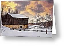 Winter Barn - Paint Greeting Card