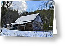 Winter Barn Greeting Card by Susan Leggett