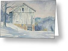 watercolor print Winter Barn painting for sale Greeting Card