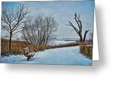 Winter Bench At Walnut Creek Lake Greeting Card