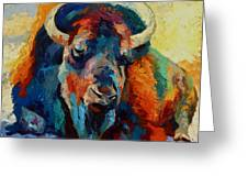 Winter Bison Greeting Card by Marion Rose