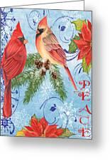 Winter Blue Cardinals-peace Card Greeting Card