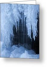 Winter Blues - Frozen Waterfall Detail Greeting Card