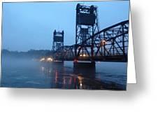 Winter Bridge In Fog Greeting Card