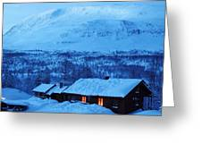 Winter Cabin Arctic Alpinglow Greeting Card