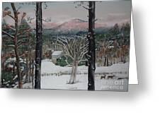 Winter - Cabin - Pink Knob Greeting Card