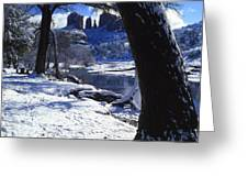 Winter Cathedral Rock Greeting Card