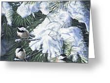 Winter Chickadees Greeting Card