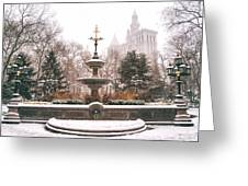 Winter - City Hall Fountain - New York City Greeting Card