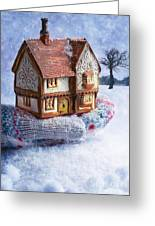 Winter Cottage In Gloved Hand Greeting Card