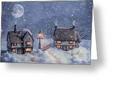 Winter Cottages In Snow Greeting Card