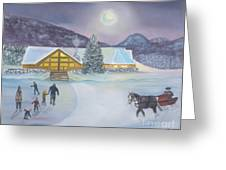 Winter Evening At Evergreen Lakehouse Greeting Card