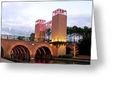 Winter Evening Lights On The Woodlands Waterway Greeting Card