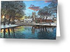 Winter Evening Tickhill Yorkshire Greeting Card